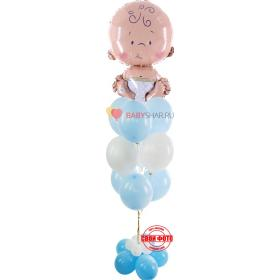 Фольгированная фигура малыша в букете с белыми и голубыми шарами