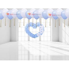 Шарики под потолок бело голубые и сердце для украшения комнаты на выписку