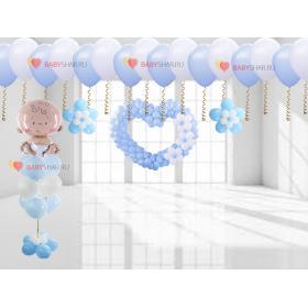 Сердце на штору, букет с мальчиком, цветочки и шары под потолок на выписку для мальчика