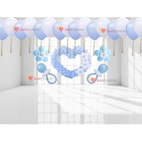 Сердце, соски, цветочки, шары под потолок на встречу из роддома