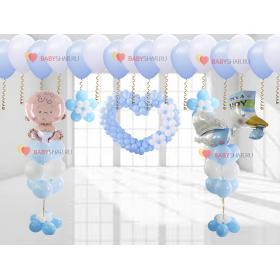 Букеты из шаров, фигуры сердца и цветов, шары под потолок на выписку