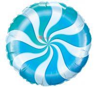 Фольгированный круг Спираль голубая
