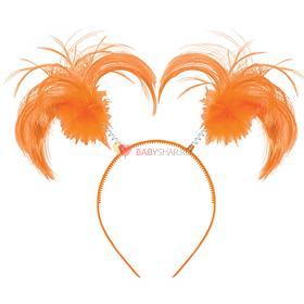 Ободок-антенки Хвостики оранжевые