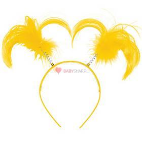 Ободок-антенки Хвостики желтые