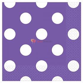Салфетки малые фиолетовые Горошек
