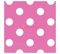 Салфетки ярко-розовые Горошек