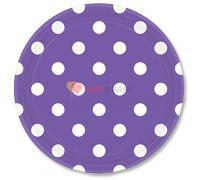 Тарелки фиолетовые Горошек