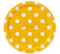 Тарелки солнечно-желтые Горошек