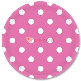 Тарелки ярко-розовые Горошек
