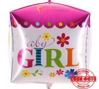 Фольгированный шар куб 3D для девочки