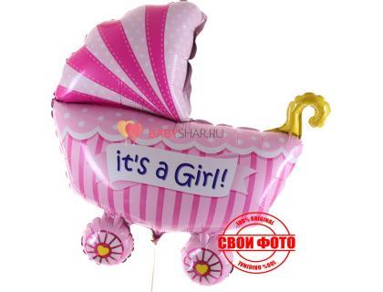 Фольгированная фигура коляски с надписью It`s a girl