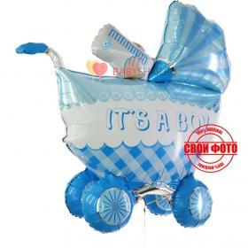 Купить фольгированный шар голубая коляска для новорожденного мальчика