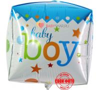 Фольгированный шар куб 3D для мальчика