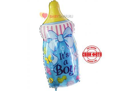 Купить фольгированный шар бутылочка для новорожденного мальчика