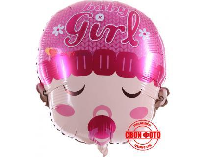 Фольгированный шар на выписку малышка в розовой шапочке с надписью girl