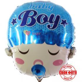 Фигура головы мальчика спящего с соской во рту и надписью Boy на шапочке синего цвета
