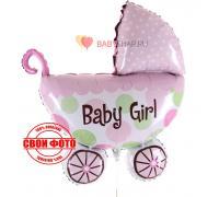 Коляска розовая baby girl для девочки