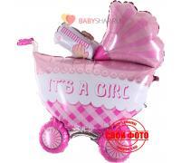 Коляска для девочки 3D розовая It`s a girl