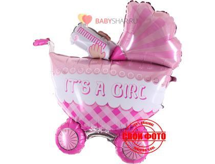 Фигура коляски 3D на выписку для девочки