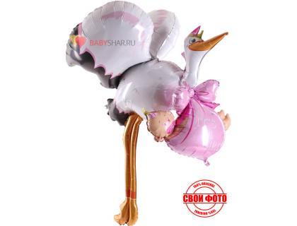 Высокая фигура из фольги розовый аист почтальон