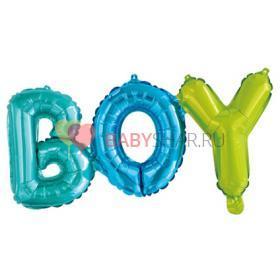 """Шар (27''/69 см) Фигура, Надпись """"Boy"""", Разноцветный"""