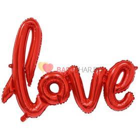 """Шар (41''/104 см) Фигура, Надпись прописью """"Love"""", Красный"""
