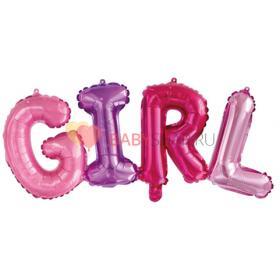 """Шар (43''/109 см) Фигура, Надпись """"Girl"""", Разноцветный"""
