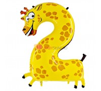 Шар цифра 2 (91 см) Жираф