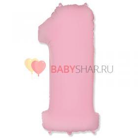 Шар цифра 1 Пастель Pink