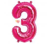 Шар-фигура Цифра 3 Розовая