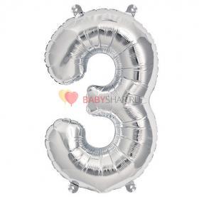 Шар фигура цифра 3 Silver