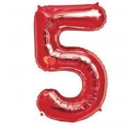 Шар фигура цифра 5 Красная