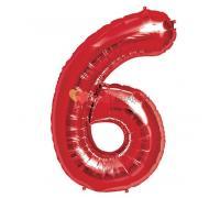 Шар фигура цифра 6 Красная