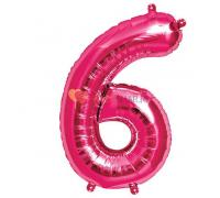 Шар-фигура Цифра 6 Розовая