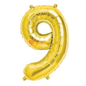 Шар фигура цифра 9 Gold