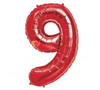 Шар фигура цифра 9 Красная