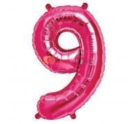 Шар-фигура Цифра 9 Розовая