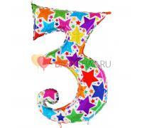 Шар цифра 3 Звезды голография