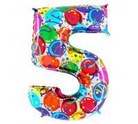 Шар цифра 5 Шары и серпантин