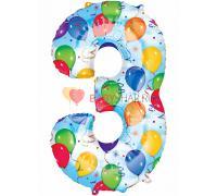 Шар фигура Цифра 3 с рисунком шаров