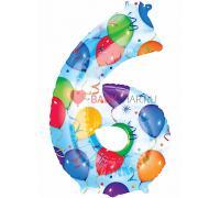 Шар фигура Цифра 6 с рисунком шаров