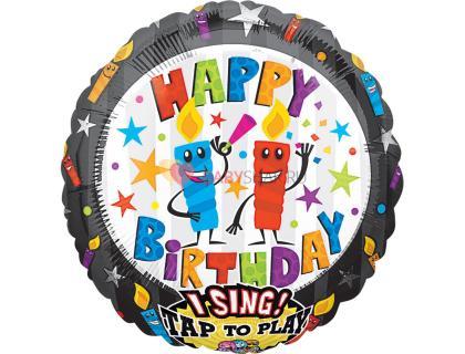 Фольгированный музыкальный шарик Happy Birthday со свечками