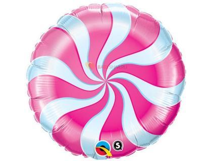 Фольгированный круг Спираль розовая