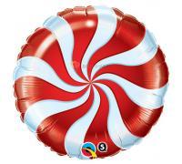 Фольгированный круг Спираль красная