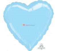 """Фольгированный шар 18"""" Сердце пастель голубое"""