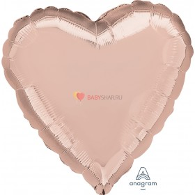 """Фольгированный шар 18"""" Сердце Розовое золото"""