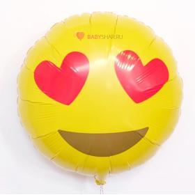Фольгированный шар Смайл с сердечками