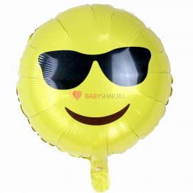 Фольгированный шар Смайл в очках
