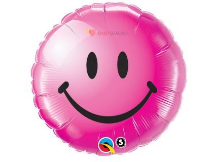 Фольгированный шар Улыбка розовая