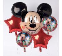 Букет из фигуры голова Микки Мауса и 4 фольгированных шаров